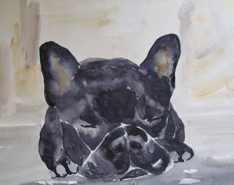 Dog french bulldog - pet portrait in watercolor - animal Art