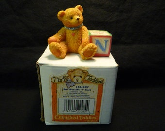 Cherished Teddies Bear with Letter N Block Mini Figurine 1995 Enesco 158488N