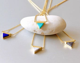 Marble Triangular Necklace, Gold And Turquoise Necklace,Geometric Stone Necklace, Delicate Necklace, Gold Dipped Necklace, Gift (SGN12)