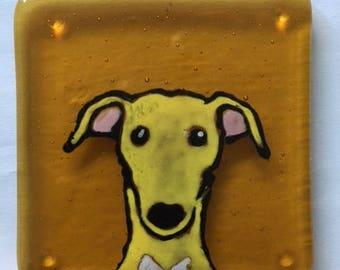 Sam the Greyhound Fused glass coaster