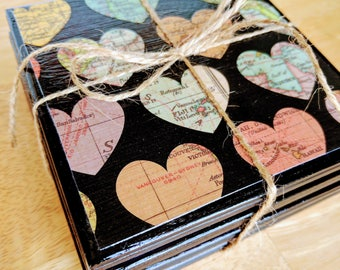 Heart Map Coasters, Heart Shaped Maps on Coasters, Ceramic Coasters, Girlfriend Gift, Anniversary Gift, Wedding Gift, Map Hearts