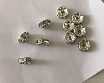 Set of 10 8 mm diameter Crystal rhinestone spacer beads