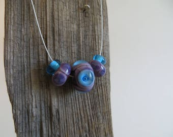Purple and Blue Glass Bead Necklace