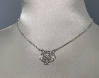 Necklace in 925 sterling silver tiger head