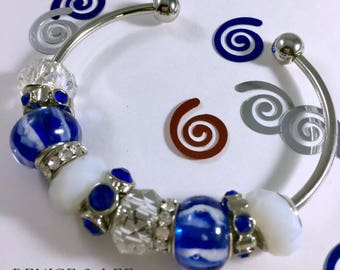 Blue & White European Beaded Bracelet