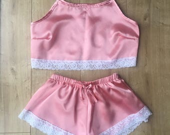 Peach Satin Pyjamas