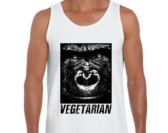 """UNISEX """"Vegetarian"""" Gorilla Tank-top - Vegan, Vegetarian, Vegan Shirt, Animal Rights"""