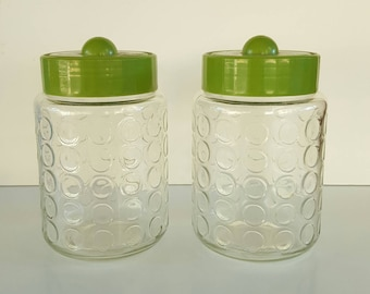 VINTAGE RETRO Green Glass Lidded Jars, Canisters, Containers, Bubble, Olive, Plastic Lid, Cannister, Mid-century, Mid Century