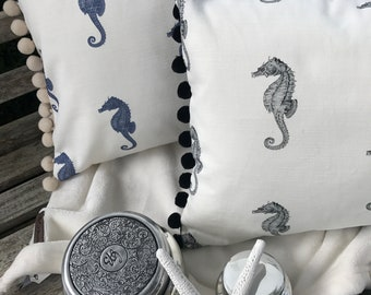 Luxury Pom pom trimmed cushion, Izabel Peters Seahorse fabric, approx 50 x 30cms