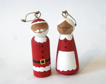 Santa Claus and Mrs Claus Ornaments, Christmas Tree Decoration, Father Christmas, Xmas Decoration, Xmas, Ornament, Christmas Ornament