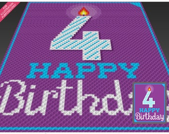 Happy Birthday 4 crochet blanket pattern; knitting, cross stitch graph; pdf download; no written counts or row-by-row instructions