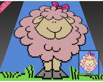 Casual Sheep crochet blanket pattern; c2c, cross stitch; graph; pdf download; no written counts or row-by-row instructions