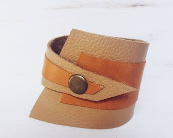 Caramel Cognac leather bracelet for women, leather cuff, Cuff Bracelet, wide leather strap, asymmetrical leather bracelet ladies, Lemore