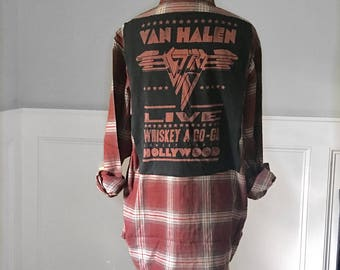 Van  Halen Flannel Tee Van Halen Whiskey a go go t shirt new men's Large flannel shirt unisex