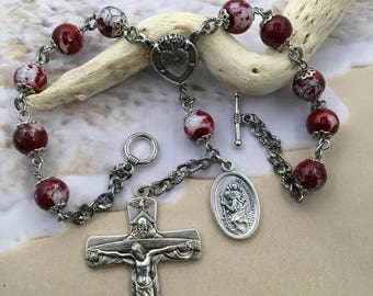 Auto rosary, rear view mirror rosary, red rosary, saint Christopher rosary, red auto rosary, catholic gift, rear view mirror gift