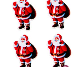 5 cute buttons 3.5 cm - 2 holes wood Santa Claus