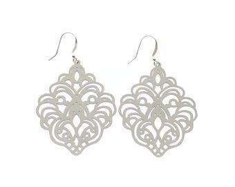 Silver filigree earrings.