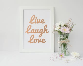Framed Rose Gold Foiled Wall Art | Live, Laugh, Love  Wall Art Print | Wall Decor | Home Decor | FREE UK SHIPPING |