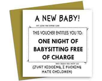 Funny New Baby Card/ New Baby/ Voucher Card