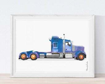 Semi Truck Print, Semi Trailer, Trucks Wall Art, Toddler Decor, Transportation Nursery, Truck Printable, Semi Truck Birthday, Vehicle Poster