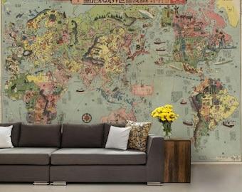 world map wallpaper,  old map wallpaper, vintage old map, Pictorial world map, world map wall mural, Japanese world map,  old map wallpaper