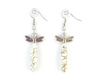 Earrings fantasies - charms - Asian Dragonfly (white)