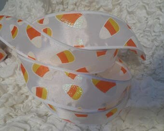 """Halloween Ribbon GLITTER WIRED Candy Corn 1 1/2"""" White Satiny By the Yard"""