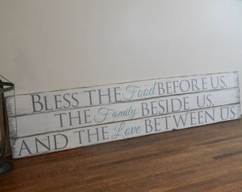 Bless the food before us | Wood Sign | Blessing | Rustic Home Decor - Kitchen Sign - Rustic Sign - Dining room decor - Wooden Wall Decor