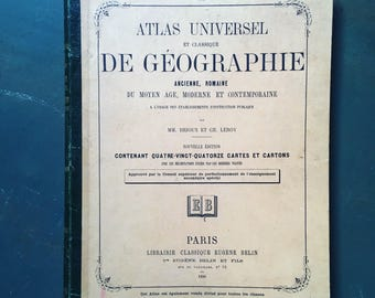 Stunning classic geography and universal Atlas. Eugene Barnes. 1890 old maps. School book. antique french