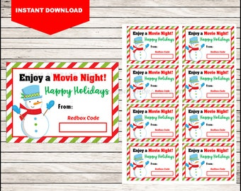 Snowman Redbox Movie Printable, Christmas Movie Redbox Ticket Gift Tag, Merry Christmas to all and to all a Movie Night, Instant Download