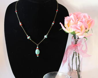 Turquoise and Red Coral Antique Gold Necklace