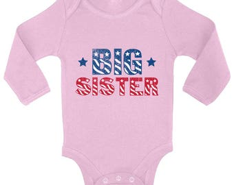 USA Big Sister Baby Long Sleeve Bodysuits One Piece  USA Bodysuit Tops Big Sister To Be  USA Flag Fourth of July Party