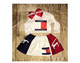 Tommy Hilfiger inspired onesie, Designer Inspired, Custom Baby Onesie