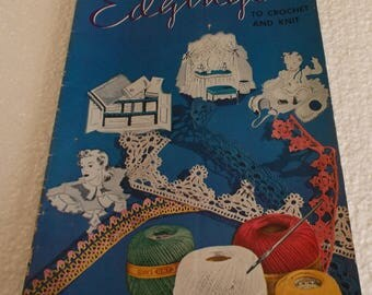 """Crochet and Knit """"Edgings"""" (c) 1940 The Spool Cotton Company-Fifth Edition (Original)"""