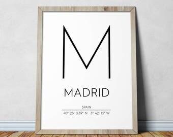 Madrid Print, Madrid Poster, Madrid Coordinates Printable, Madrid Wall Art, Madrid Decor, Travel Poster