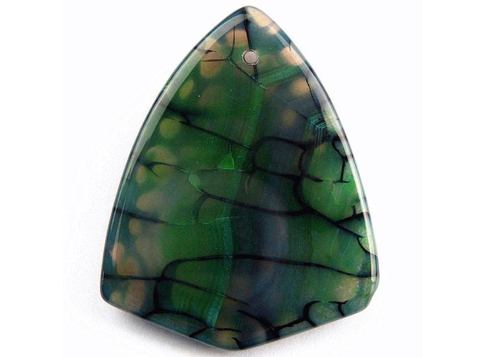 Green black dragon veins agate shield pendant focal bead 50x41x9mm aloadofball Image collections