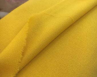 Crepe WOOL Fabric by the Yard Crepe Fabric by The Yard Yellow Fabric Wool Crepe Fabric REMNANT
