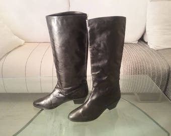 80s black leather boots