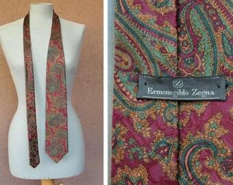 Vintage ERMENEGILDO ZEGNA Paisley Sil Tie - Designer Men's Tie
