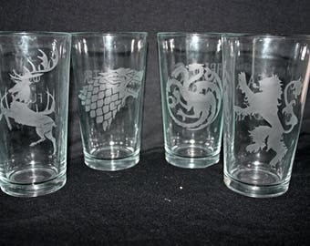 Set of 4 Game of Thrones pint glasses