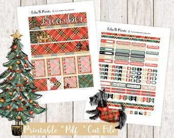 Noel Printable Planner Stickers/December Monthly Kit/For Use with Erin Condren/Winter December Glam Christmas Tree Winter Presents Puppy