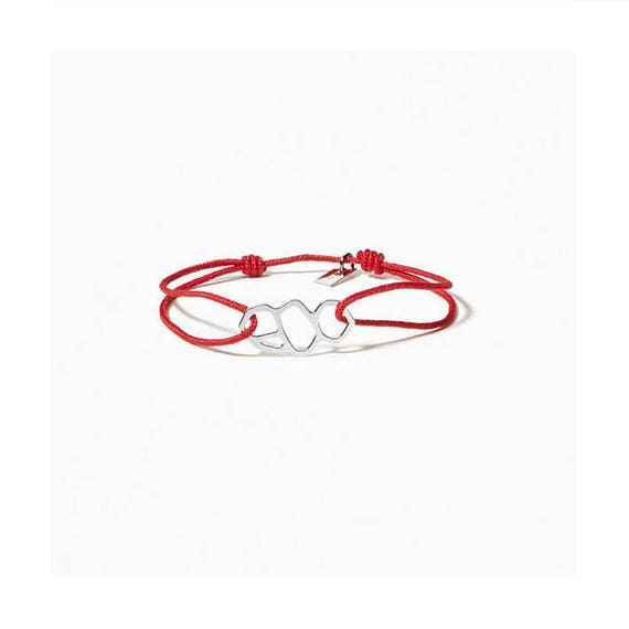 Red link bracelet A DAY IN. Marseille/Mucem, silver finish