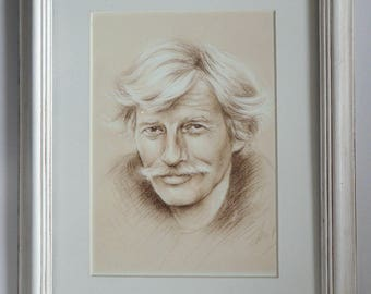 Jean Ferrat Portrait framed or not / Reproduction on high quality A4 art paper