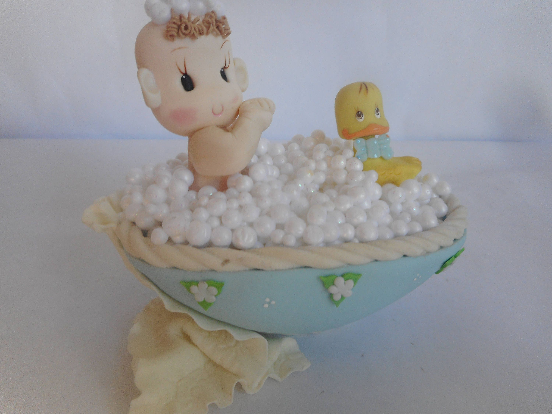 Baby on Bathtub Cake Topper Baby Shower Cake Topper Blue Baby