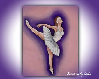 Acrylic painting ballerina,girls bedroom,abstract painting,wall art,