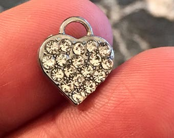 3 adorable rhinestone heart charms - perfect for all your jewelry designs  - silver tone
