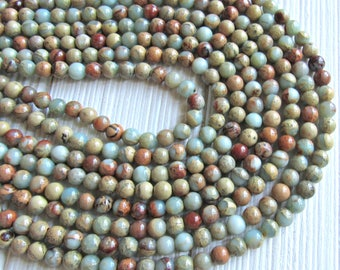 6mm African opal, impression jasper, aqua terra jasper, 6mm beads, Jasper beads, aqua beads, blue beads, gemstone beads, 6mm gemstone beads