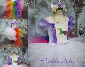Rainbow unicorn sparkly tutu dress