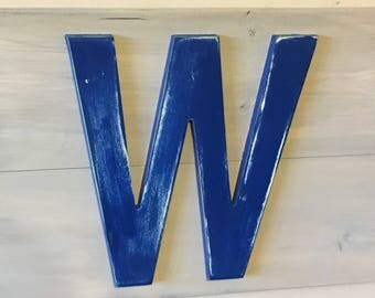 "Vintage Rustic Chicago Cubs ""fly the W"" wood sign"