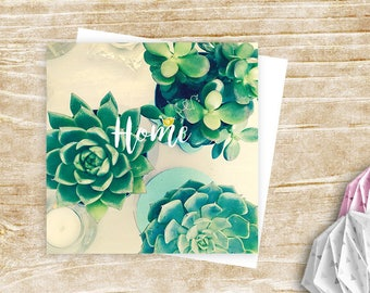 """Home"" card amid succulent - vegetable"